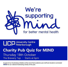 University Centre Peterborough will be hosting a pub quiz tonight (Thursday 18th October) at 6pm in The Brewery Tap for MIND charity....