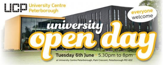 Do you want to study at university in 2017 or 2018? You are invited to attend the 'UCP OPEN DAY' on Tuesday 6th June from 5.30pm to...