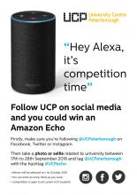 Tomorrow is the last day to enter our competition to win an Amazon Echo. We want your selfies/photos. #UCPecho https://t.co/Dqe8QViiS0